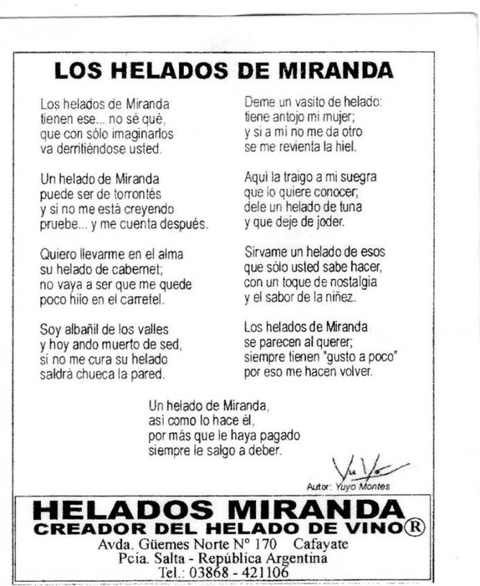 Biglietto da visita Gelateria Miranda di Cafayate in Argentina