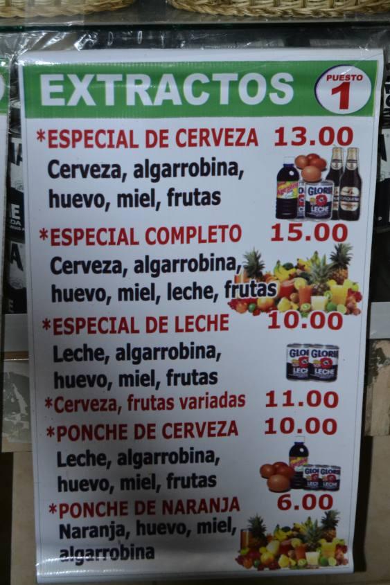Estratti di frutta e birra al mercato centrale di Arequipa