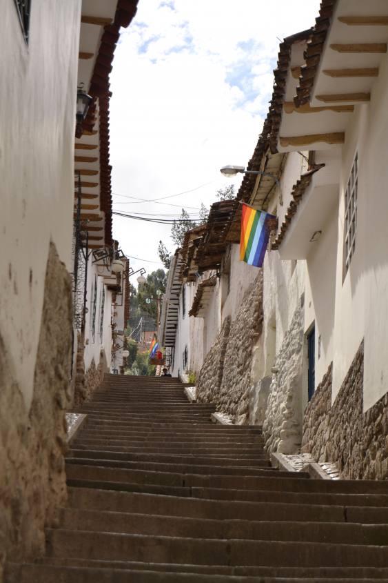 Scalinata nel centro storico di Cusco in Perù