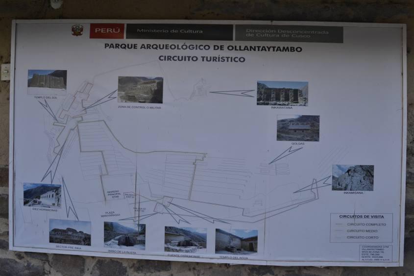 Mappa del circuito intero all'interno del Parco Archeologico di Ollayntatambo