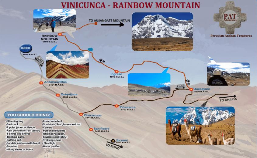 Mappa per raggiungere la Montagna Vinicunca/Arcoiris in Perù