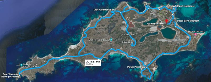 Itinerario primo giorno in bici di Rottnest Island