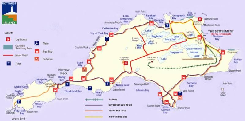 Mappa completa di Rottnest Island