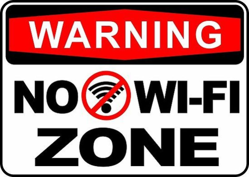 "Cartello ""No Wi-Fi Zone"""