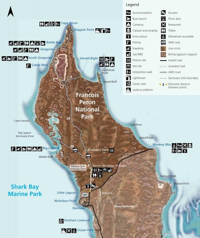 Mappa del Parco Nazionale Francois Peron a Shark Bay in Western Australia