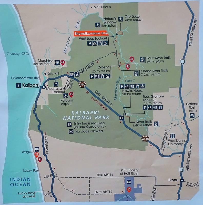Mappa del Parco Nazionale Kalbarri in Western Australia