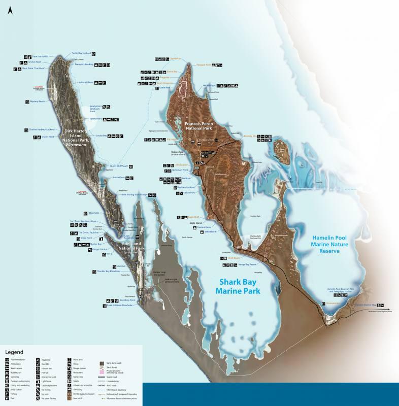 Mappa Shark Bay del Western Australia