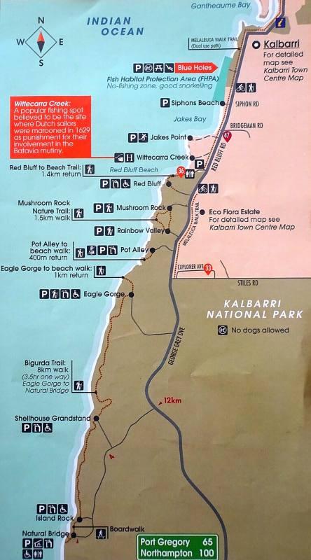 Mappa del tratto costiero nel Parco Nazionale Kalbarri in Western Australia
