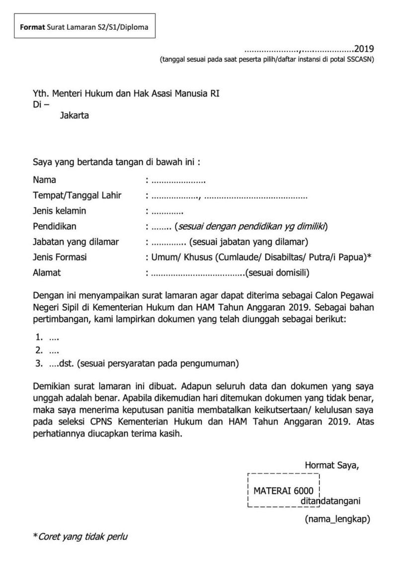 Surat Lamaran Kemenkumham Slta 2019 : surat, lamaran, kemenkumham, Contoh, Surat, Lamaran, Kerja, Lapas, Kumpulan