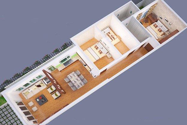 Hình ảnh 2 trong bản vẽ nhà cấp 4 3 phòng ngủ được bố trí khoa học nhất