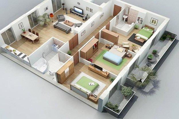 Hình ảnh bản vẽ nhà cấp 4 4 phòng ngủ gồm 3 phòng ngủ được bố trí khoa học nhất