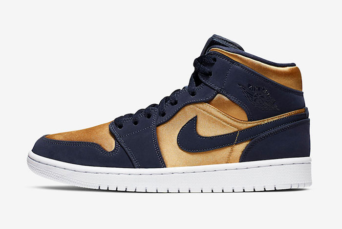 Official picture of the Air Jordan 1 Mid in 'Satin Gold'