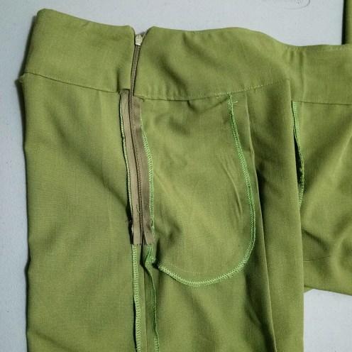 Serged inside side seam at pocket