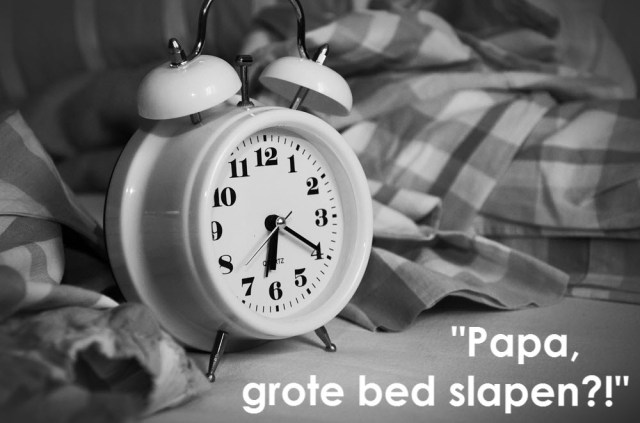 Papa grote bed slapen peuter
