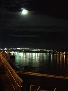 Moon over Danube river