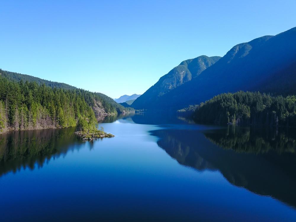 A scenic view of Buntzen Lake.