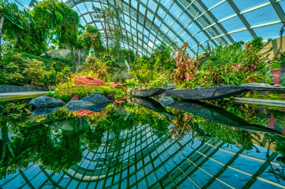 One of the many water features of the Gardens by the Bay's huge greenhouses.
