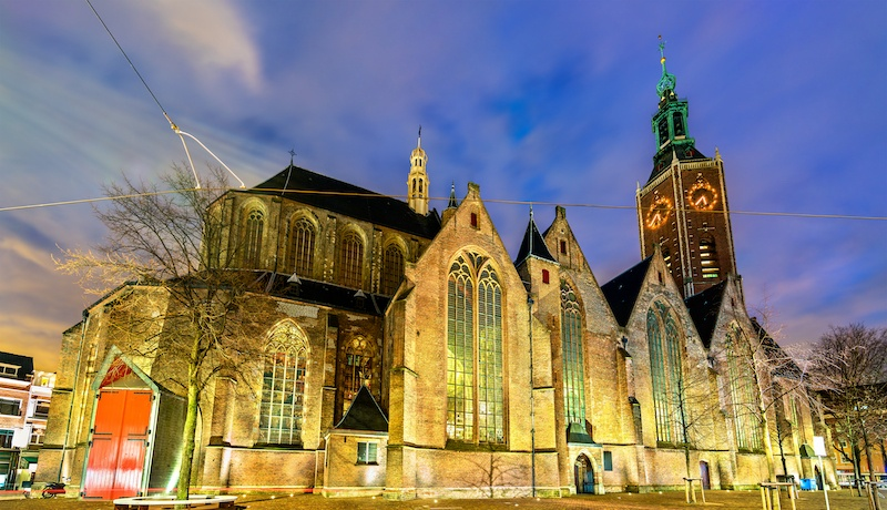 The Grote Kerk is a beautiful old building in the hague.