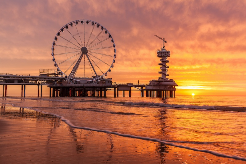 There are plenty of beaches in the hague, this picture of Scheveningen shows one of them.