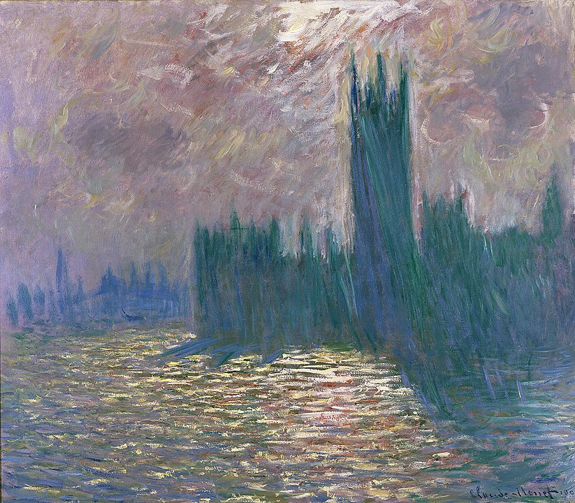 A famous Monet painting featuring Westminster in London, blanketed in heavy fog.