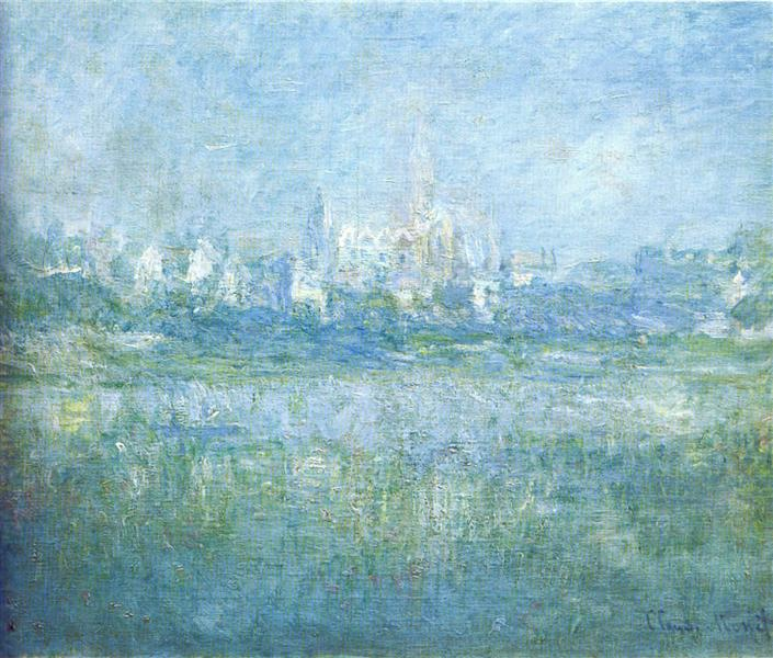 A famous Monet painting featuring different shades of blue and a village in the distant background.