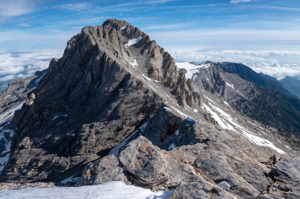 Mytikas, the highest peak on Mount Olympus is one of the most spectacular Greek mythology places you can visit.