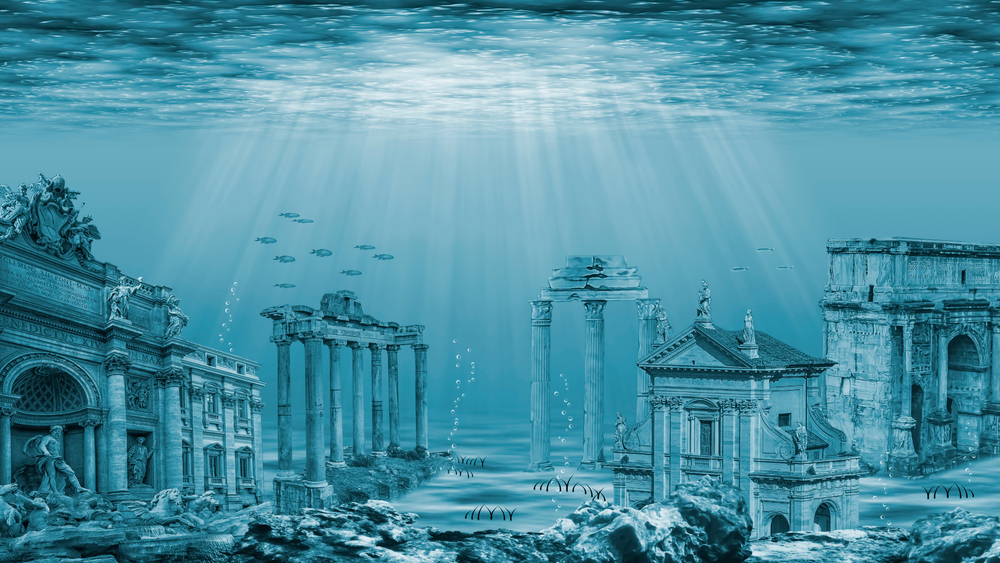 The lost city of Atlantis, the most famous of all Greek mythology places.