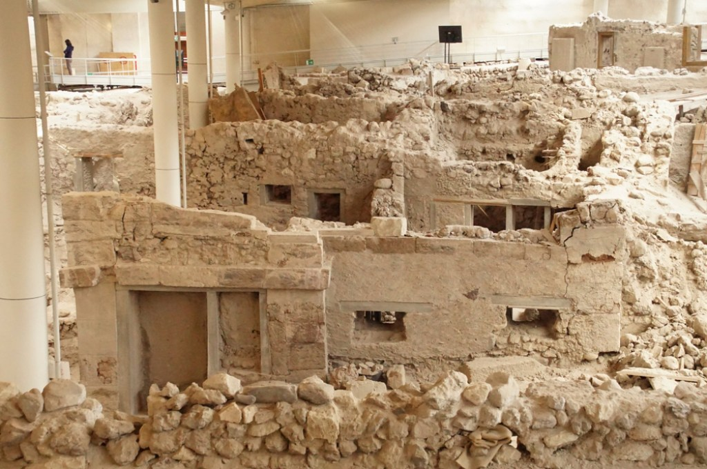 The stunning archeological remains of Akrotiri, one of the supposed locations of the mythological city of Atlantis.