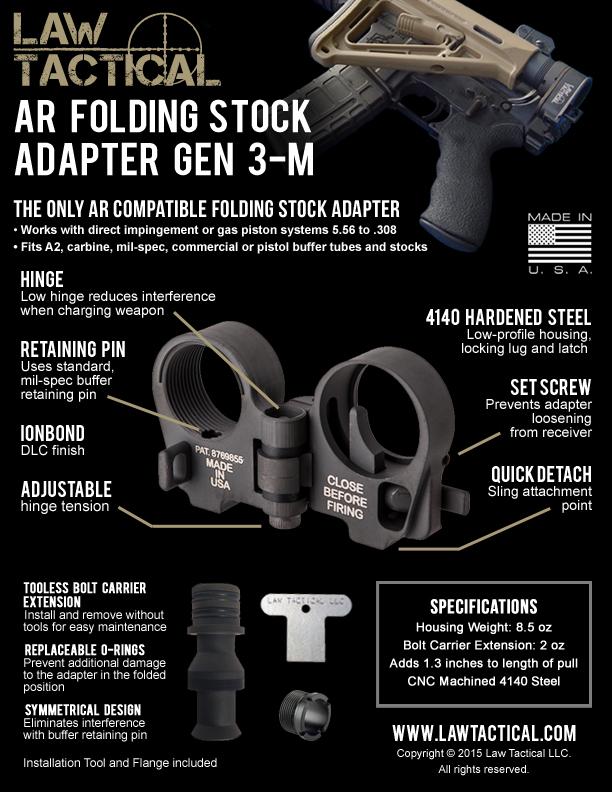 Law Tactical-Adaptador de stock plegable Gen-3HK