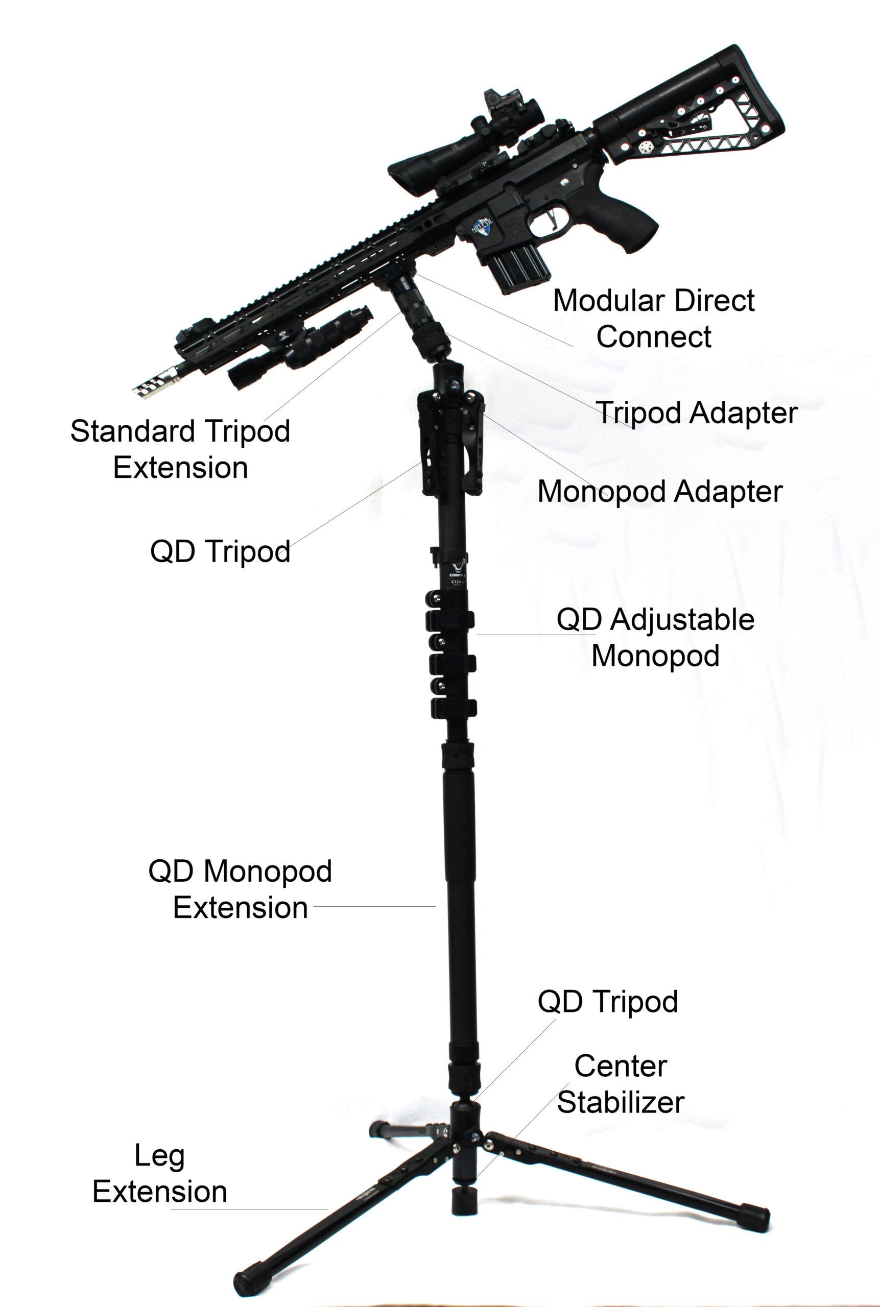 Sistema de trípode / monopié de desmontaje rápido Overwatch Commander de Mid-Evil Industries