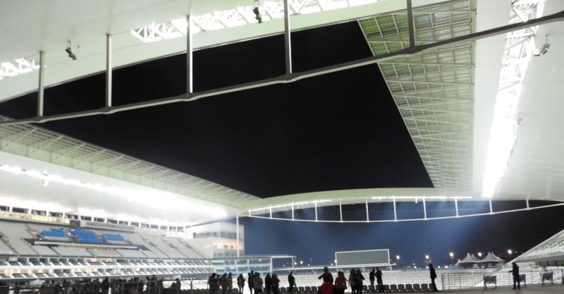 Arena Corinthians durante jogo noturno. Foto: AMF / Blog Tirando Férias