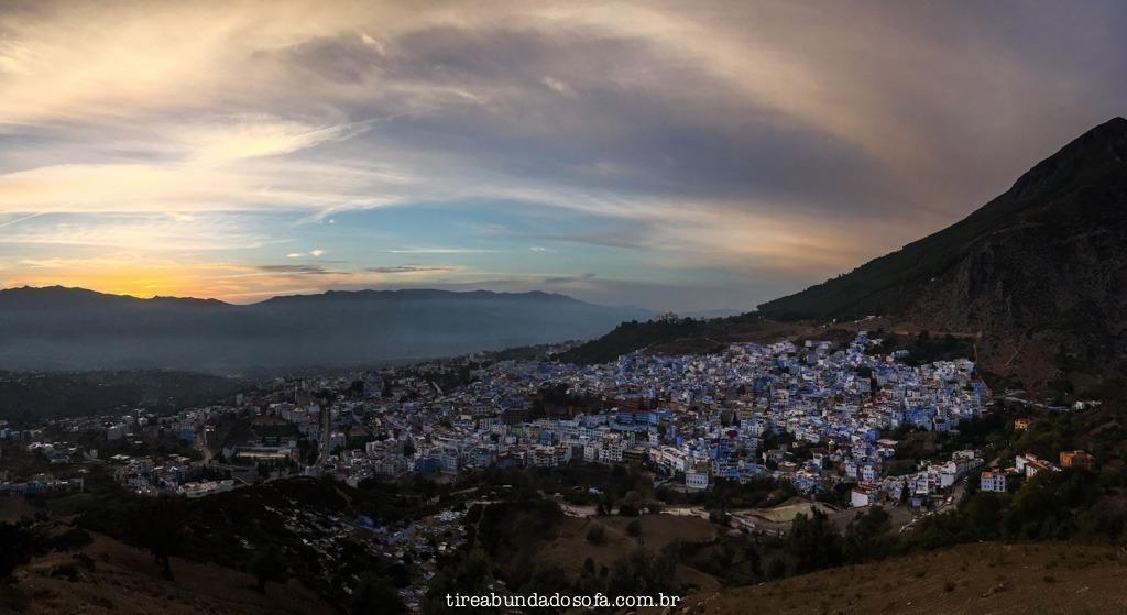 Chefchaouen vista de cima, a cidade azul do marrocos
