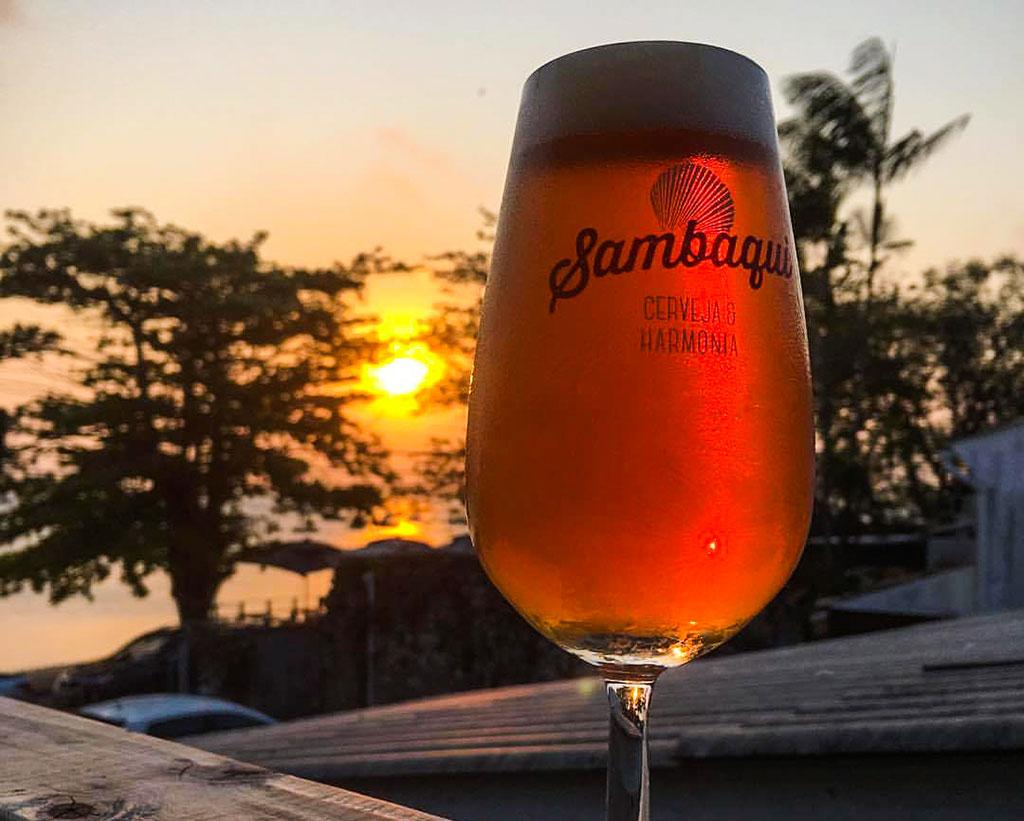 pôr do sol no bar Sambaqui, em Santo Antônio de Lisboa