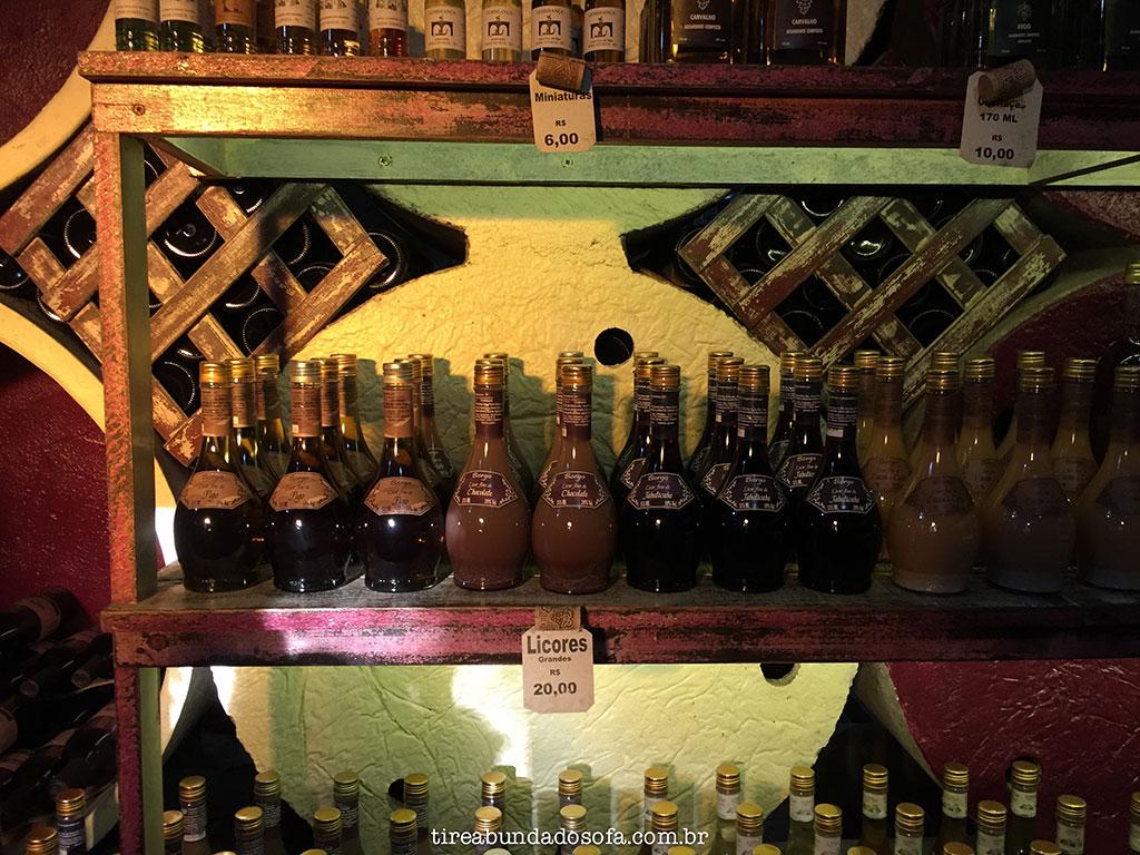 Licores da Vinícola Borgo, em Nova Veneza