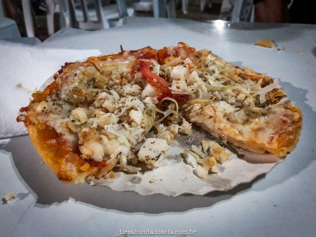 Pizza de tilápia, no festival sabores do peixe, em capitólio