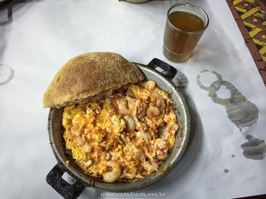 Omelete de camarão, em Casablanca, no Marrocos