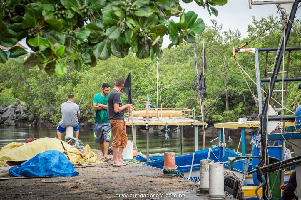 homem pescando, no porto de peruíbe, sp