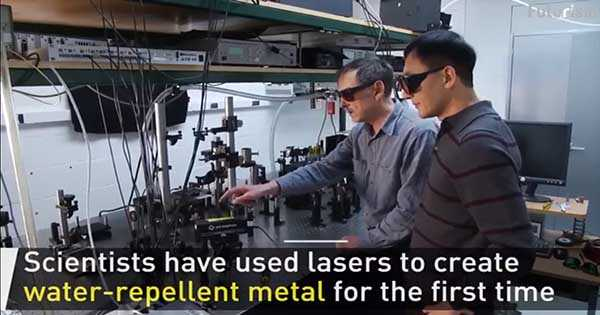 Laser Generated Surface Structures Create Water Repellent Metal 1