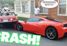 Parallel Parking Fail Woman Wrecks a Ferrari Speciale Mercedes 1
