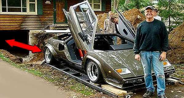 17 years to build this lamborghini countach in his basement tire burn. Black Bedroom Furniture Sets. Home Design Ideas