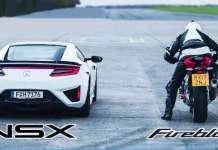 Honda NSX vs Honda CBR1000RR - 2018 Drag Race 1