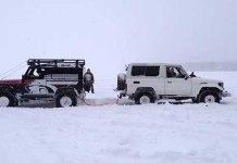 Land Rover Defender VS Land Cruiser Tug Of War 1