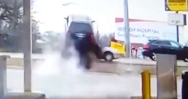 This Guy Had A Stuck Throttle Sends His SUV Over Another Car 1