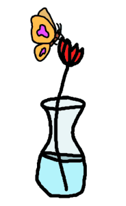 butterfly on a rose in a vase - drawing