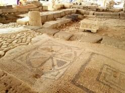 Original mosaic floor of the Magdala synagogue
