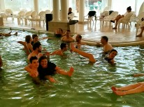 After the cold plunge we joined the wiser members of our group in the heated Dead Sea water spa. Very relaxing.
