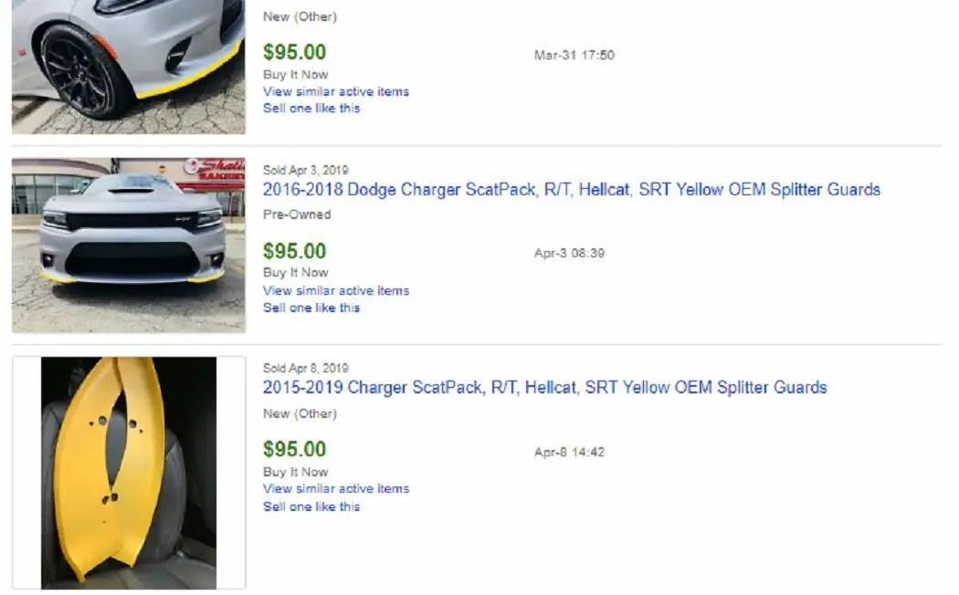 SRT Yellow Splitter Protectors 2015-2019 Dodge Charger Hellcat Scat Pack