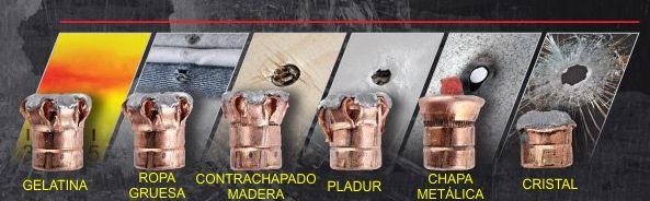 Expansión de un proyectil de punta hueca Hornady Critical Duty tras atravesar diferentes materiales.