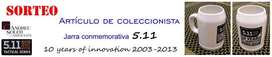 SORTEO. Artículo de coleccionista: jarra conmemorativa 5.11 10 years of innovation 2003-2013.
