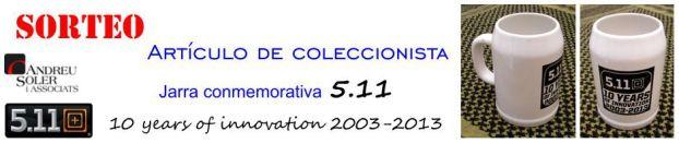 SORTEO. Artículo de coleccionista: jarra conmemorativa 5.11 10 years of innovation 2003-2013